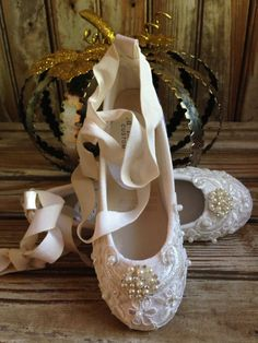 Custom Ballet Style Ivory Flower Girl Shoes Satin Beaded Alencon Lace Pearl & Crystal Ankle Tie First Communion Victorian Style on Etsy, $84.00