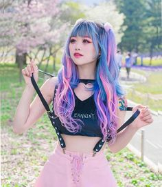 Have you ever went to picnic in a city park? That feels so weird everyone passes by would look at you 😂😂 Extensions from (code… Pastel Goth Outfits, Pastel Goth Fashion, Kawaii Fashion, Cute Fashion, Japanese Street Fashion, Tokyo Fashion, Harajuku Fashion, Mode Kawaii, Kawaii Goth