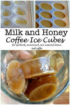 Milk and Honey- Coffee Ice Cubes Make Coffee Ice Cubes to put in your afternoon iced coffee. These coffee ice cubes have just the perfect hint of sweetness. Honey Coffee, Coffee Love, Coffee Break, Coffee Coffee, Starbucks Coffee, Morning Coffee, Coffee Shop, Coffee Bags, Coffee Menu