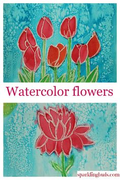 Simple watercolor flowers tutorial, Suitable for kids and beginners