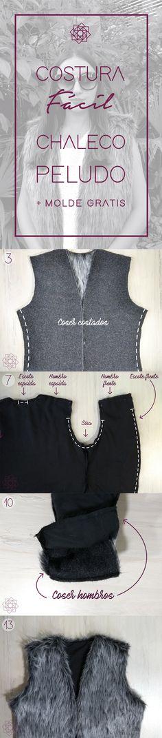 DIY Ropa. DIY costura. Free sewing pattern. Patrón de costura gratis. Tutorial de costura paso a paso. Molde chaleco. Sewing Patterns Free, Free Sewing, Design Blog, Sewing Hacks, Sewing Tips, Crafty, Couture, Diy, Lace