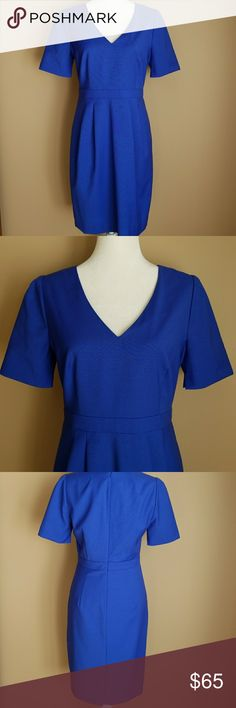"""J. Crew Suiting Blue Wool Dress Gorgeous, lightweight, short sleeve dress from J. Crew Suiting.  It's 100% wool.  Zipper down the back.  Size 8 and in excellent condition.  Measures 36.5"""" long.  Color is lighter than the first pics, more like color in 4th picture. J. Crew Dresses"""