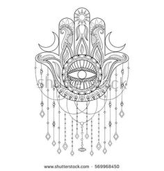 Hamsa hand vector illustration Hand drawn symbol of protection for adult anti stress coloring book page in zentangle style Blackwork yoga tattoo de Hamsa hand vector illu. Hamsa Hand Tattoo, Hand Tattoos, Yoga Tattoos, Hamsa Tattoo Design, Blackwork, Hamsa Drawing, Tatouage Main Hamsa, Zentangle, Protection Tattoo