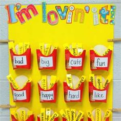 "Vocabulary Board wall ideas for the classroom.  Put the ""boring"" everyday words on the french fries container, have students come up with better synonyms of the words."