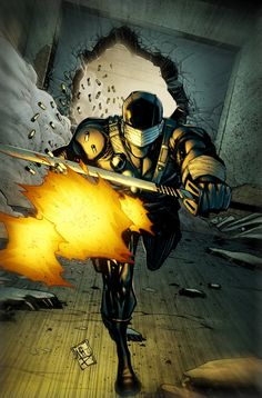 Snake Eyes is one of the original members and a key character of the G. He is a westerner that was taken in by the Arashikage Ninja Clan and trained in Martial Arts. He now serves as a ninja commando and martial arts trainer of G. Comic Movies, Comic Books, Snake Eyes Gi Joe, Arte Ninja, Vigilante, Comic Art Community, Storm Shadow, The Valiant, Star Wars Comics