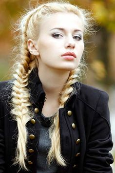 Inside out braids are a great variation on the braided pigtail. These fabulous pigtails show off gorgeous long platinum hair.