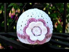 How to Crochet a Flower for a Baby Hat - YouTube