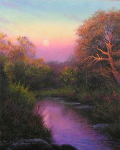 Moonrise Over Crabapple Creek (painting by artist Layne Johnson)
