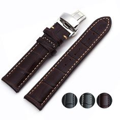 11.43$  Buy now - http://alinl6.shopchina.info/go.php?t=32531366057 - Special offer Genuine Leather watchband with butterfly buckle Calfskin Watch Straps With Folding Clasps 11.43$ #aliexpress