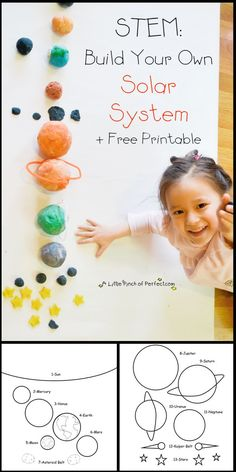 STEM Preschool Activity: U is for Universe Free Printable - espace - système solaire- univers - planète Planets Activities, Solar System Activities, Solar System Projects, Space Activities, Science Activities, Space Preschool, Free Preschool, Preschool Science, Science For Kids