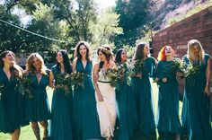 Jewel toned bridesmaid dresses: fall's must-have wedding look - Wedding Party (Thing in contrast with Sunflowers that Char will hold)