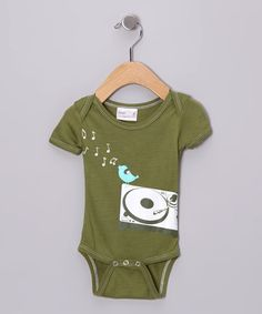 Take a look at this Green DJ Bird Organic Bodysuit by Small Plum on #zulily today!
