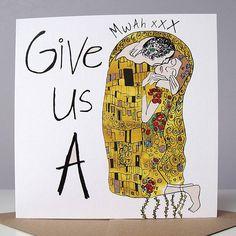 'give us a kiss' card by cardinky   notonthehighstreet.com