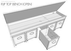 DIY Flip Top Bench Free Plans DIY flip top bench with pull out bins and free plans Diy Wood Projects, Furniture Projects, Furniture Plans, Home Projects, Diy Furniture, Furniture Stores, Lounge Furniture, Woodworking Box, Woodworking Furniture