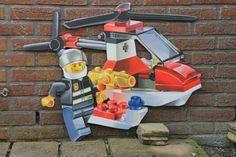 Lego brandweer, frescolithe op mdf.