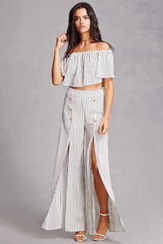 Striped Crop Top & Pant Set