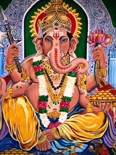 Hindu painting of Ganesh, Son of Shiva and Parvati, Lord of Wisdom and Good Fortune. India.