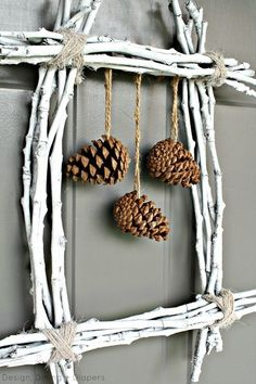 Pine Cone Twig Wreath Create a unique winter wreath using twigs and pine cones. Kids Fall Crafts, Holiday Crafts, Christmas Wreaths, Christmas Crafts, Christmas Decorations, Christmas Ornaments, Winter Wreaths, Prim Christmas, Xmas