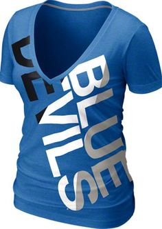 Duke Blue Devils Women's Royal Heather Nike Tri-Blend Deep V-neck T-Shirt