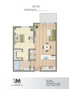 One-Bedroom Floor Plan   2M Street in Northeast Washington DC   WC Smith #Apartments   NoMa #PetFriendly #Rentals