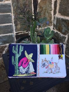 Vintage serape mexican hombre embroidered donkey by lyndasdesigns1