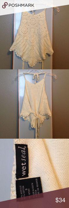 Cream halter top Pretty halter top. Excellent condition. Size Small. Crochet type, super soft. *OBO* Wet Seal Tops Crop Tops