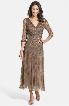 Pisarro Nights Beaded Mesh Dress Sz 16 Chocolate | Clothing, Shoes & Accessories, Women's Clothing, Dresses | eBay!