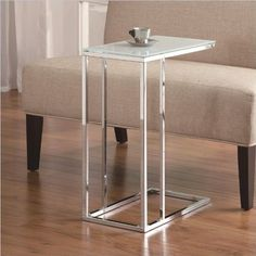 COASTER 900250 CONTEMPORARY SNACK TABLE WITH GLASS TOP, SILVER - Click image twice for more info - See a larger selection of  glass coffee tables at http://zcoffeetables.com/product-category/glass-coffee-tables/ - home, home decor, home ideas, home furniture, office furniture, table, gift ideas, living room,