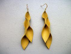 Mustard Yellow Leather Petal Earrings by HaKNiK on Etsy