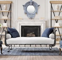 I like the shelves, love the rug. 19th C. French Empire Metal Daybed | Chaises and Daybeds | Restoration Hardware