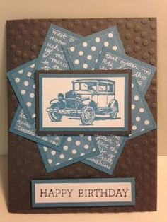 Guy Greeting, Masculine Birthday Card, Faux Pinwheel Card Technique, Stampin' Up!, Rubber Stamping, Handmade Cards