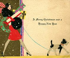 Art Deco Christmas Card with Scottie Dog. Vintage Christmas Images, Retro Christmas, Vintage Holiday, Christmas Shopping, Vintage Images, Christmas Greetings, Christmas And New Year, Winter Christmas, Christmas Decor