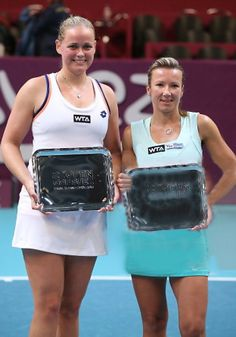 """Open GDF SUEZ 2014 FINALS: Anna-Lena Groenefeld & Kveta Peschke def. Timea Babos & Kristina Mladenovic who advanced when Defending Champions Sara Errani & Roberta Vinci ret. their SF match giving them a W/O. Anna & Kveta win their 3rd WTA Doubles Title after rallying from MPs down.  KVETA: """"Anna didn't have a partner this week &  I didn't either, so it just happened,"""" ... """"It's hard to compare victories - every title is special - but of course we're very excited to win the title here.""""…"""