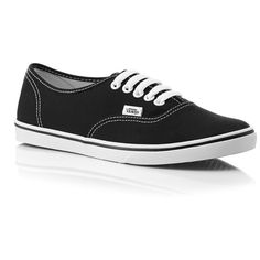 Vans Authentics In Black (285 DKK) ❤ liked on Polyvore featuring shoes, sneakers, vans, sapatos, vans sneakers, black lace up shoes, black sneakers, kohl shoes and black trainers
