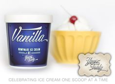 10 Professionally Designed, Navy Ice Cream Pint Containers. Freezer Friendly Packaging for Homemade Ice Cream/Dessert Tables and Gifts