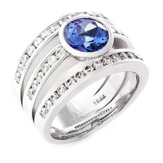 Colour Stone Solitaire Ring with Diamond Bands by Uwe Koetter Jewellers Oval Solitaire Engagement Ring, Engagement Rings Cushion, Dream Ring, Diamond Are A Girls Best Friend, Diamond Bands, Colour Stone, White Gold, Wedding Rings, Tanzanite Rings