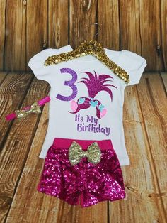 Troll Birthday outfit. Perfect for any birthday personalized with any number. Included number in note section at checkout. Back to our Shop: https://www.etsy.com/shop/bentleyboutiqueco ************************************ TOP: Adorable graphic that wont shed and is machine
