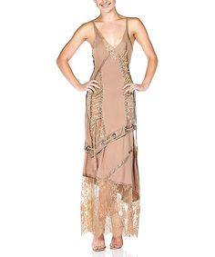 Look at this CQbyCQ Nude Lace Sleeveless Maxi Dress - Women on #zulily today!