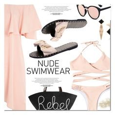"""Nude Swimwear"" by fshionme ❤ liked on Polyvore featuring Topshop, Eugenia Kim and nudeswimwear"