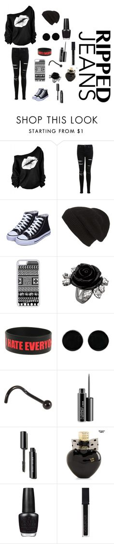"""""""Ripped jeans"""" by meyou-ii ❤ liked on Polyvore featuring Miss Selfridge, Phase 3, CellPowerCases, AeraVida, MAC Cosmetics, Aéropostale, OPI and Smashbox"""