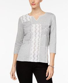 Alfred Dunner Eskimo Kiss Lace-Front Top - Tops - Women - Macy's