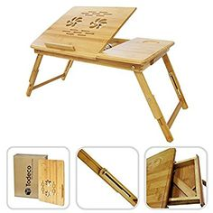 Todeco - Table Portable pour Ordinateur, Plateau de Lit Pliable - Matériau: Bambou - Taille du bureau: 55,1 x 35,1 cm - Bureau réglable avec trous d'aération: Amazon.fr: Cuisine & Maison