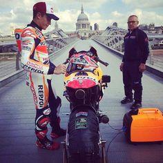 Marc Marquez prepares to ride over Millenium bridge in London