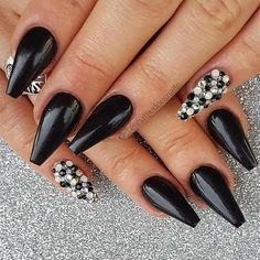 True Embellishments for Your Coffin Nails ★ Coffin Nails with Dark Colors Picture 1 ★ See more: http://glaminati.com/coffin-nails/ #coffinnails #coffinnaildesign