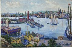 """""""View of Gloucester Harbor,"""" Harold W. Burdett, 1933, oil on canvas, 14 x 20"""", private collection."""