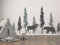 Woodland Wall Decals Pine Trees Decals Bear and Moose Decal Forest Bear Moose Woodland Decor Large Pine Trees Decal Forest Mural Small Pine Trees, Pine Trees Forest, Woodland Nursery Boy, Woodland Decor, Bear Nursery, Forest Mural, Forest Room, Gray Tree, Deco Nature