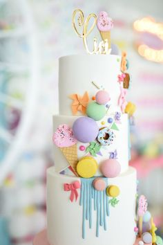 Cake Top from a Girly Pastel Carnival Birthday Party on Kara's Party Ideas | KarasPartyIdeas.com (32)