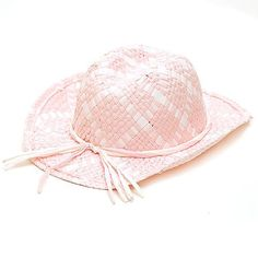 Nice New Girls Pink White Straw Cowgirl Hat Dress Up