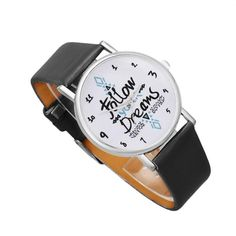 Stylish 2016 Relogio Feminino Women Dress Watches Quartz Follow Dreams Words Pattern Leather Watch Leather Watch Clock JN23 #women, #men, #hats, #watches, #belts, #fashion