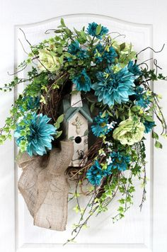 Front Door Wreath, Summer Wreath, Honeysuckle, Birdhouse, Dahlias,  Great for Country Decor -- FREE SHIPPING on Etsy, $163.00
